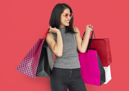 Happy woman with shopping bags 写真素材 - 111747028