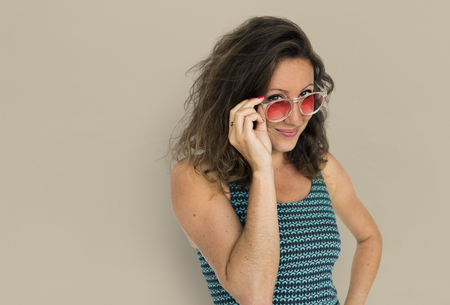 Portrait of woman with sunglasses 写真素材 - 111747029