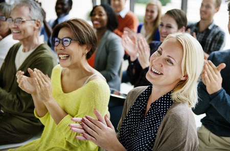 Audience Applaud Clapping Happines Appreciation Training Concept Banco de Imagens