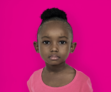 Little girl with face expression Banco de Imagens