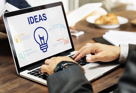Ideas concept on laptop screen