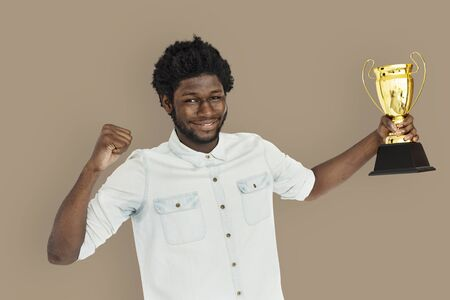 won: African Man Won Prize Reward Award Concept
