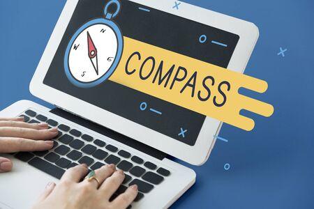 bar magnet: Compass Destination Navigation Route Direction Concept