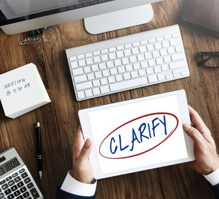 clarify: Clarify Clear Visible Simplicity Creativity Plain Concept Stock Photo