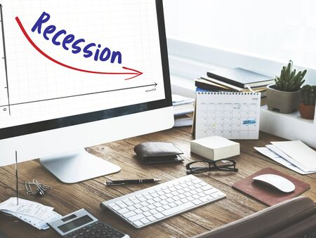 turning table: Recession Financial Risk Failure Decrease Concept
