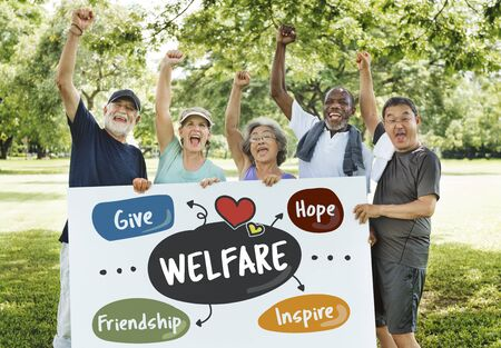 profit celebration: Donations Charity Volunteer Words Concept Stock Photo