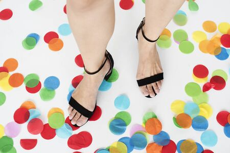 Human Leg Feet Standing Shoes Colorful Concept Stock Photo