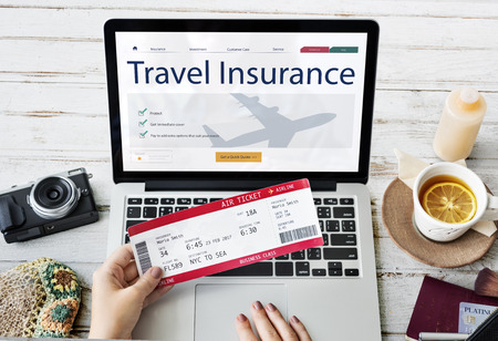 Travel Aviation Insurance Website Concept Stok Fotoğraf - 70192361