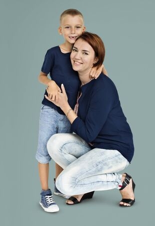 Mother Son Hugging Love Together Concept Stock Photo