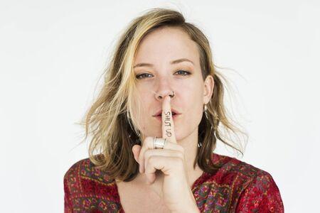 shut up: Woman Secret Quiet Shut Up Concept Stock Photo