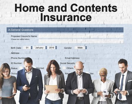 homeowners: Home and Contents Insurance Form Document Concept