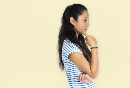 unsatisfied: Asian Girl Thoughtful Unhappy Emotion Concept