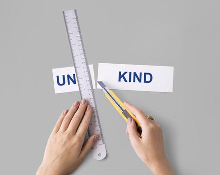 Unkind Hand Cut Word Split Concept