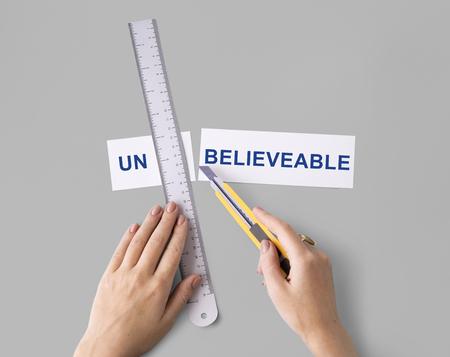 dubious: Impossible Unbelieveable Hand Cut Word Split Concept