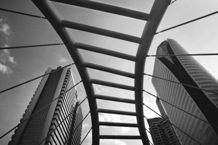 greyscale: Greyscale architectural bridge in bangkok