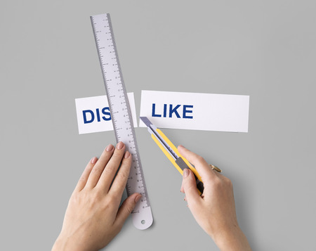 Dislike Hate Hands Cut Word Split Concept Stock Photo