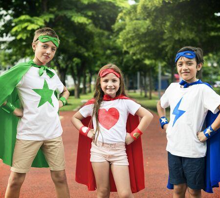 superheroes: Superhero Boy Girl Brave Imagination Concept