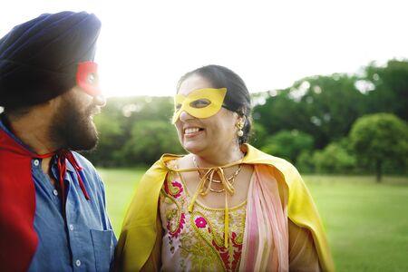 superheroes: Indian Couple Superheroes Love Concept Stock Photo