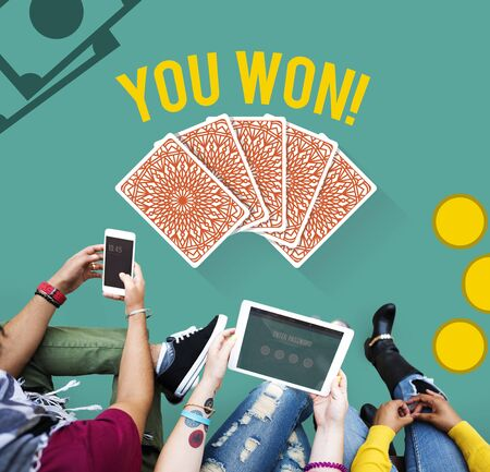 won: You Won Message Playing Cards Concept