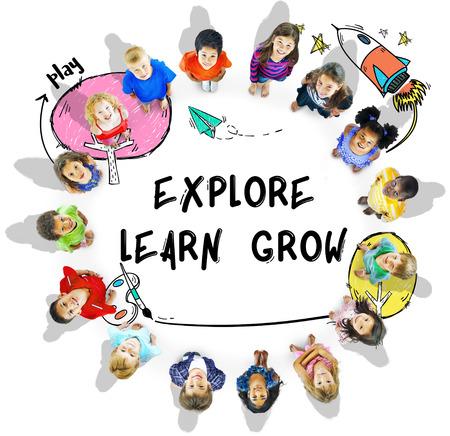 어린이의 상상력 학습 아이콘 개념 스톡 콘텐츠