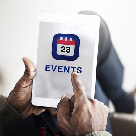 Tablet with events concept Imagens