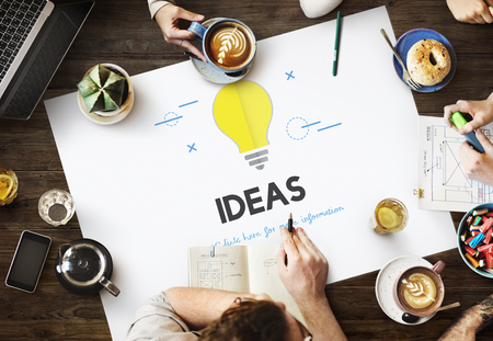 Discussion with idea concept Stock Photo