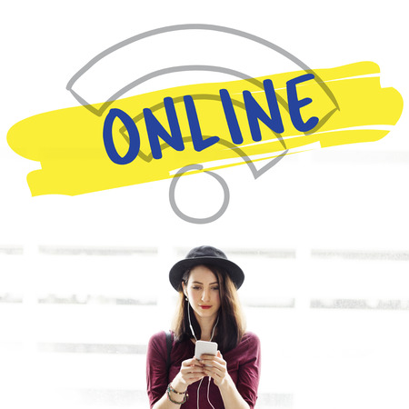 Woman with online concept