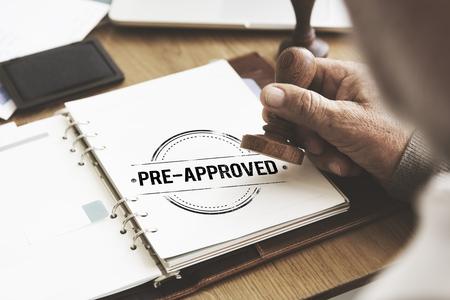 Pre-Approved Wahl Marke Auswahl Status Option Konzept