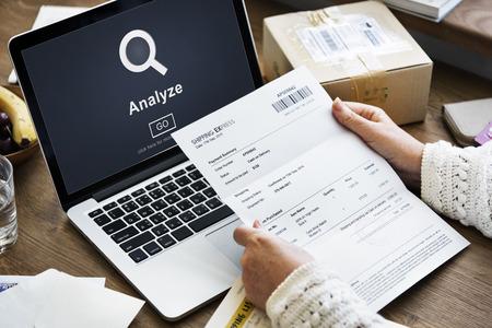 analyze: Analyze Research Work Strategy Concept Stock Photo