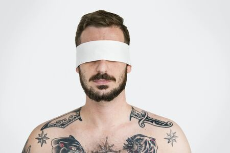 mislead: Man Eye Covered Blind Forbidden Lost Concept