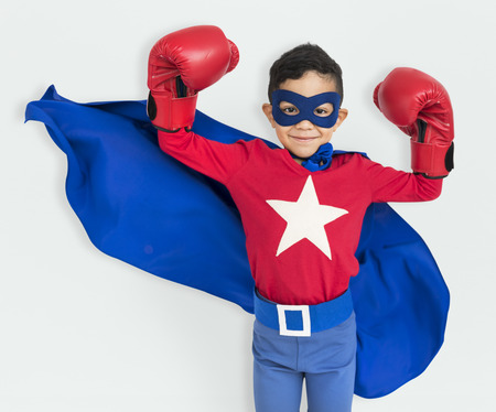Boy Superhero Brave Child Gutsy Kid Concept Stock Photo