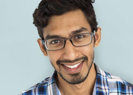 man close up: Indian Man Close Up Studio Concept