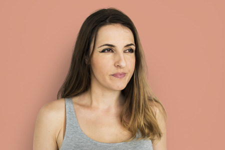 Young woman with orange background Stock fotó