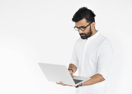Male Holds Laptop Technology Concept Stock Photo