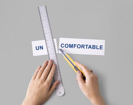 overwrought: Uncomfortable Hands Cut Split Word Concept