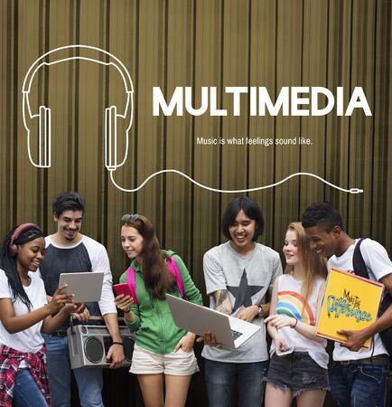 asian man laptop: Listening to music headphones graphic