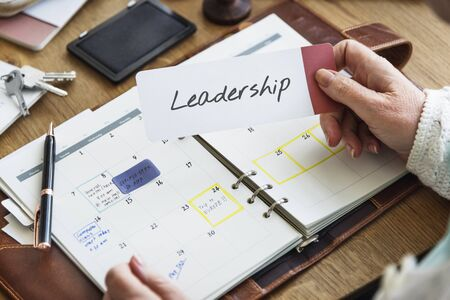 leading education: Learn and Lead Leadership Management Organization Concept Stock Photo