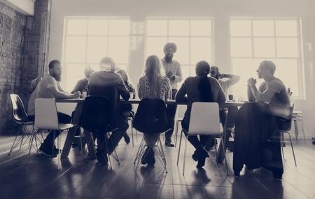 Diverse people teamwork on meeting table