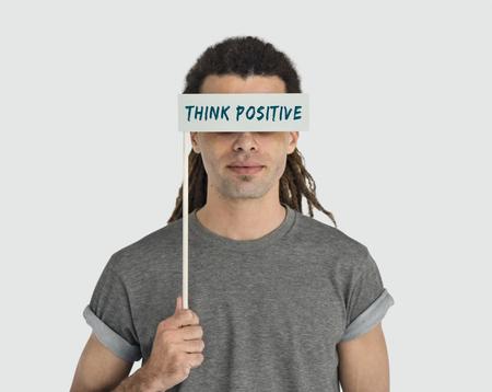 optimismo: Piense optimismo palabra positiva Concept