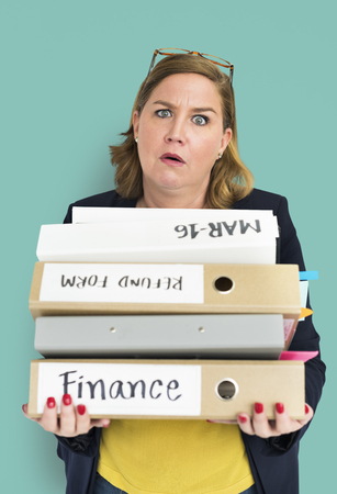 overload: Woman Stress Overload Hard Working Concept Stock Photo