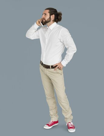Man Mobile Phone Talking Communication Portrait Concept