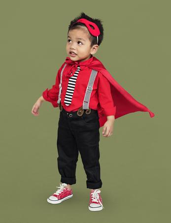 Boy with super hero costume