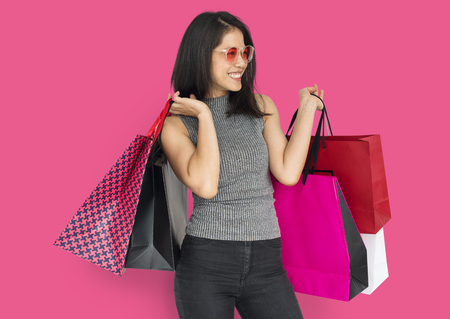 Happy woman with shopping bags 写真素材 - 111747131