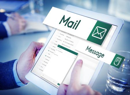 通信: 電子メール グローバル通信接続ソーシャル ネットワーク概念