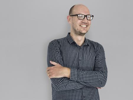 Uomo felice con gli occhiali Archivio Fotografico
