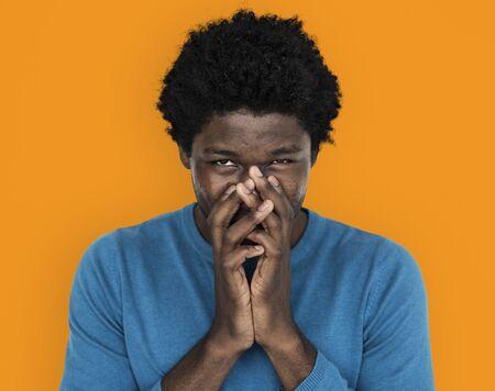 mischievous: African Descent Man Mischievous Concept