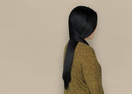 niñas chinas: Asian Woman Back View Concept Foto de archivo