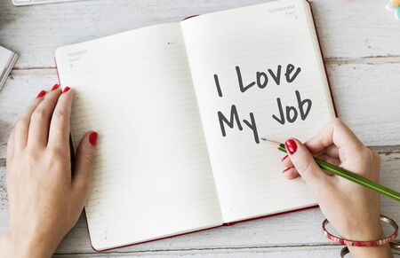 fulfilled: I Love My Job Positive Achievement Concept Stock Photo