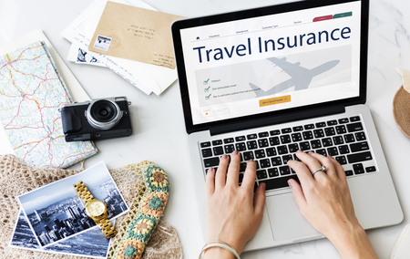 Travel Aviation Insurance Website Concept Reklamní fotografie