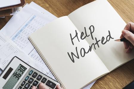 recruit help: Employment Human Resources Help Wanted Manpower Recruitment Concept Stock Photo